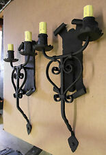 PAIR 1920S STYLE WROUGHT IRON SPANISH REVIVAL MISSION WALL SCONCE LAMP LANTERN