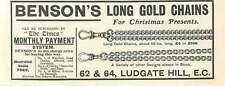 1905 Bensons Long Gold Chains Ludgate Hill Vintage Ad
