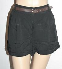 Dotti Designer Black Front Pockets Belted Cuff Shorts Size S BNWT #TB09