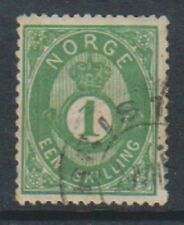 Norway - 1871/5, 1sk Yellow Green stamp - F/U - SG 32 or 33