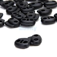 100pcs Black Bean Cord Locks Toggles 2 Hole Cordlocks Stops Stoppers
