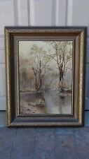 ANTIQUE 19c ORIGINAL OIL ON CANVAS PAINTING DEPICTS A FOREST&RIVER,SIGNED, #1