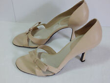 Enzo Angiolini 9.5 D'Orsay Bow Beige Strappy Leather Shoes High Heels Sandals