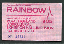 1981 Rainbow Concert Ticket Stub Ingliston Difficult To Cure Tour Blackmore Dio