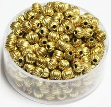 4 MM Solid Brass Round Corrugated Hollow Beads  Pkg. 50 p.  , USA