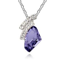 18K White Gold Plated Genuine Swarovski Crystal Purple Charm Ladies Necklace