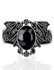 Silver Bat Necronomicon Bracelet Cuff Bangle w/ Black Stone Goth Horror Coccult