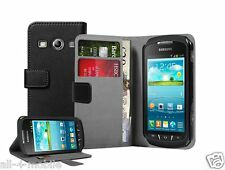 BLACK Wallet Leather Case Cover For Galaxy Xcover 2 II GT-S7710L (+2 FILMS)