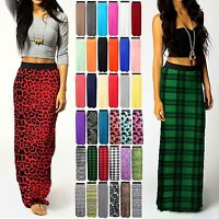 Womens Ladies LONG Jersey GYPSY MAXI SKIRT Summer Bodycon DRESS Plus Size 8-22