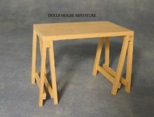 Plain Wood Trestle Table, Doll House Miniature 1.12th scale