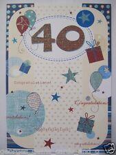 Magnifique paillettes enduits ballons & présente 40 40e Anniversaire Carte Voeux
