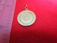 14 KT GOLD PLATED NAVY/ ST. CHRISTOPHER TWO SIDED MILITARY ARMED FORCES CHARM