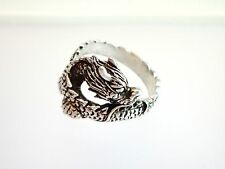 ANELLO RING DRAGO DRAGON ARGENTO 925‰ SILVER STERLING INTARSIATO BRUNITO MIS. 22