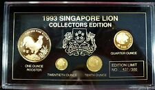 {BJSTAMPS} 1993 Singapore .40 oz gold 4 coin set Edition-500  Rooster & Lions