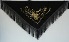 New Spanish Flamenco Shawl, Large - Black with Gold Pattern & Black Fringe