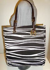 NWOT! MICHAEL KORS ITEMS JET SET TRIBAL ZEBRA TIGER CANVAS Brown Leather Tote