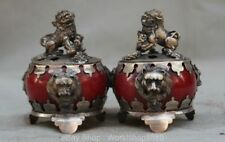"""4"""" Chinese Miao Silver Red Jade Fu Foo Hui Feng Lion Incense Burner Censer Pair"""
