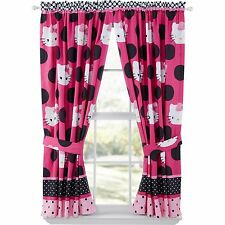 Hello Kitty Two Window Curtain Panels Tieback Girl Bedroom Set Drapery Decor