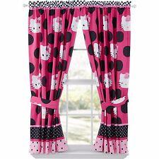 Hello Kitty Two Window Curtain Panels Tieback Girl Bedroom Set Drapery Decor