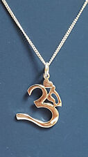 "Sanskrit OM AUM Pendant 20"" Trace Chain Sterling 925 Silver Buddhist Hindi"