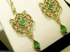 E104 ORNATE Genuine 9ct SOLID Gold NATURAL Emerald Drop Dangle Earrings Filigree