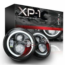 "XP-1 LED Projector Headlights 7"" Round Black Pair Halo DRL Light H4 H13 H6024"