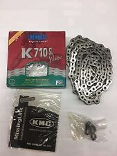 """NEW KMC K710-SL Chain SILVER 1/8"""" For Fixed/ BMX/ Beach Cruise/ Chppper BICYCLES"""