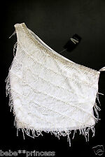 NWT bebe white fringe silver embellished one shoulder sexy dress top XS 0 2 hot