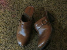 Born Women's Brown Leather Slip On Mule Shoes 10 / EUR 42  W61020 clogs