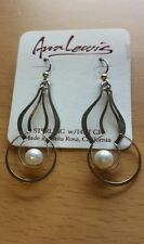 Ann Lewis sterling silver 14 kt pearl earrings dainty made in usa