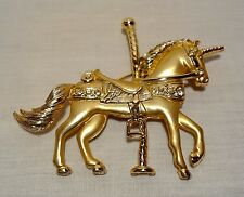 Vintage Pin Brooch CAROUSEL HORSE Unicorn Gold Tone Rhinestones Animal Figural