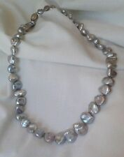 """HONORA GREY KESHI CULTURED FRESHWATER PEARLS 20"""" NECKLACE 925 STERLING SILVER"""