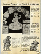 1934 PAPER AD Ducky Tru-Flesh Rubber Doll Cuddles Dolls Doll Buggies Buggy