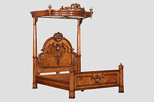 5' King Size Hampton Walnut Half Tester Canopy Bed Antique Reproduction BW003