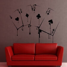 I142 Wall Decal Sticker poker game gambling casino ace joker card swindle money