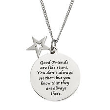 Good Friends Are Like Stars.. Stainless Steel  Friendship Pendant Necklace