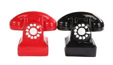RETRO OLD STYLE PHONES CERAMIC SALT AND PEPPER SHAKERS SET.MAGNETIC ATTACHED