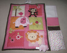 New Little Bedding NoJo 4pc Pink Brown Monkey Elephant Lion Crib Set