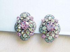 Mint Green Light Amethyst & AB Rhinestone Flower Earrings