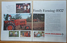 1957 two page magazine ad for Allis-Chalmers Tractors, Merle Jones Farm Missouri