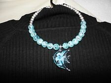 Beautiful Sea Foam Green Crackled Glass Beaded Necklace w/Glass Fish Pendant