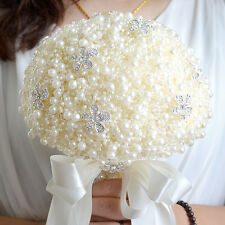 Handmade Luxury Crystal Pearls Flowers Bridal Bouquet Wedding Flowers Brooch