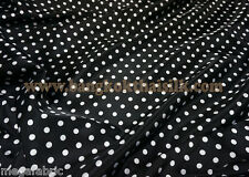 "BLACK WHITE SMALL POLKA DOT SATIN 60""W FABRIC DRAPE TABLECLOTH SCARF SKIRT BTY"