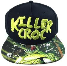 DC COMICS BATMAN KILLER CROC SUBLIMATED BILL SNAPBACK HAT CAP BLACK FLAT BILL