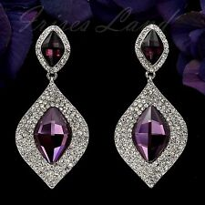 Rhodium Plated Purple Crystal Rhinestone Chandelier Drop Dangle Earrings 00078