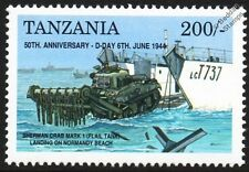 Día D Sherman Mk. I tanque con golpeador de cadenas Cangrejo & LCT Aterrizaje Vehículo Nave Artesanal Sello de la segunda guerra mundial