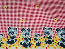 Vintage Baby Doll Blanket with Pandas Daisies Red Checkered 25 X 39.5 Adorable