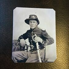 Civil War Military  UNION CAVALRY SOLDIER  PISTOLS And SABER TinType C740NP