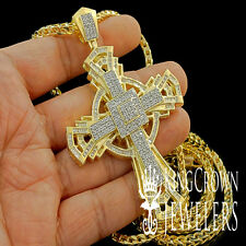 NEW 14K YELLOW GOLD FINISH JESUS CROSS CHARM PENDANT FRANCO CHAIN NECKLACE SET