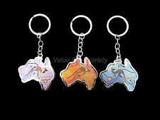 3 Australian Souvenir Metal Key Ring Australia Map Kangaroo Aboriginal Dot Art
